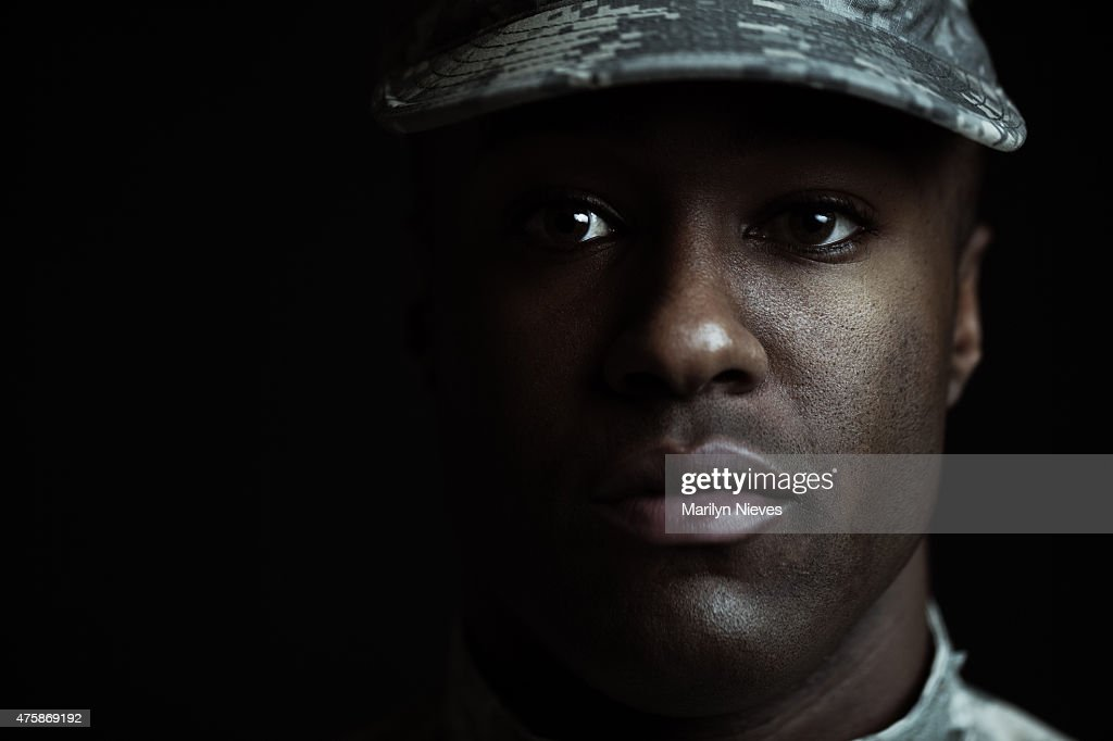 closeup of a male soldier : Stock Photo