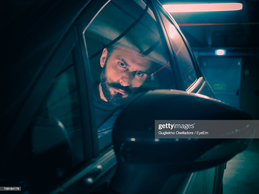 Close-Up Of A Man In Car : Stock Photo