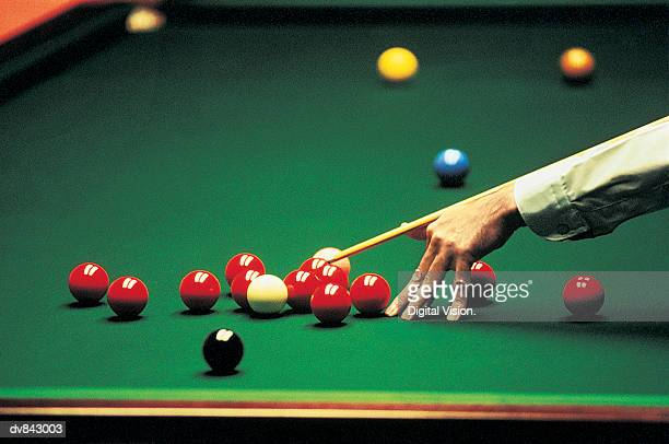 Close-up of a Man Playing Snooker
