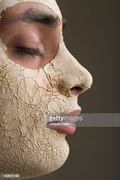 close-up of a man with facial mask - dry mouth stock photos and pictures