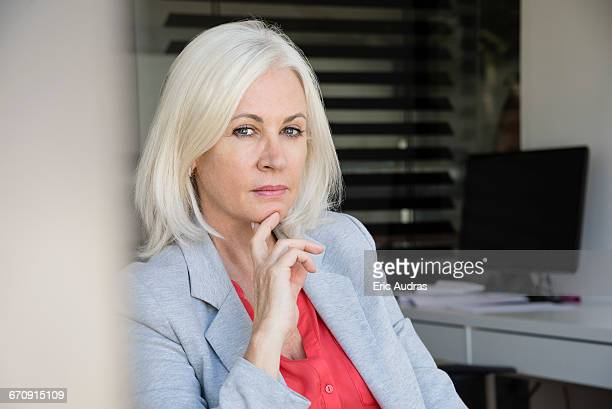 Close-up of a mature businesswoman looking serious