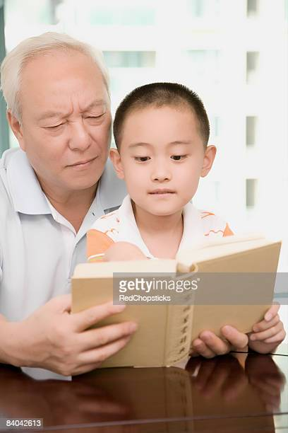 Close-up of a mature man holding a book and teaching his grandson