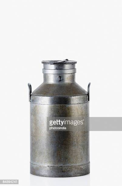 Close-up of a milk canister