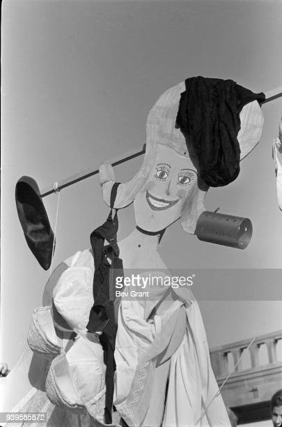 Closeup of a Miss America marionette draped in underwear high heels and hair curlers during a protest of the Miss America beauty pageant on the...