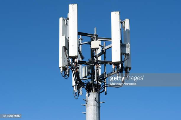 Close-up of a mobile phone mast against a clear sky on April 15, 2021 in Cardiff, Wales.