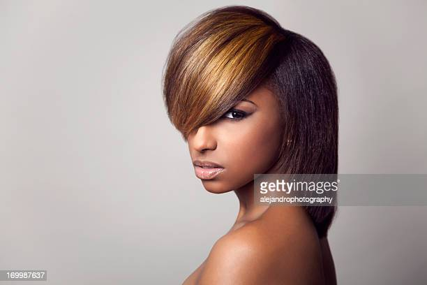 3/4 close-up of a model with highlight bang - highlights hair stock pictures, royalty-free photos & images