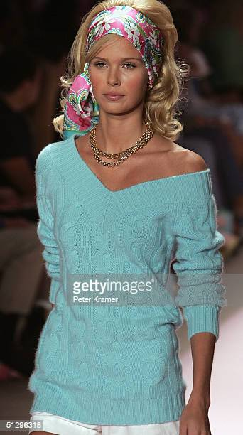 A closeup of a model's outfit is shown as she walks down the runway at the Lilly Pulitzer Couture Spring 2005 fashion show during the Olympus Fashion...