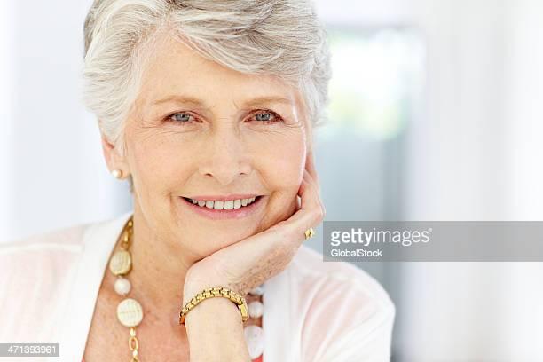 Closeup of a modern successful senior woman