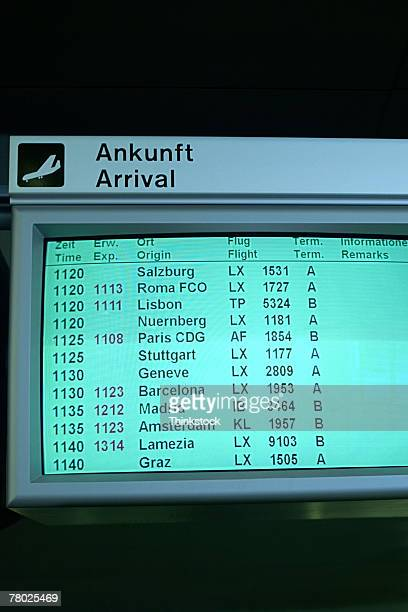 Close-up of a monitor with Arrival information at the Zurich Airport.