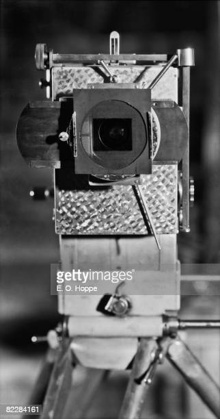 A closeup of a movie camera at the UFA Studios in Berlin 1928