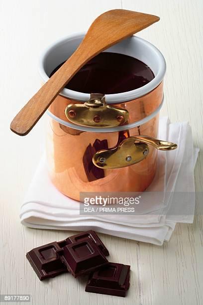 Closeup of a mug of chocolate sauce