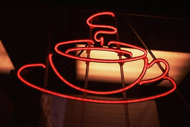 Close-up of a neon sign of a restaurant