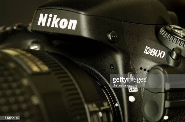 close-up of a nikon d800 camera with lens - nikon stock pictures, royalty-free photos & images