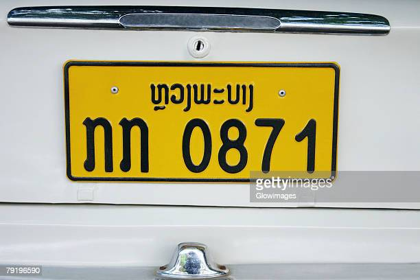 Close-up of a number plate on a car, Vientiane, Laos