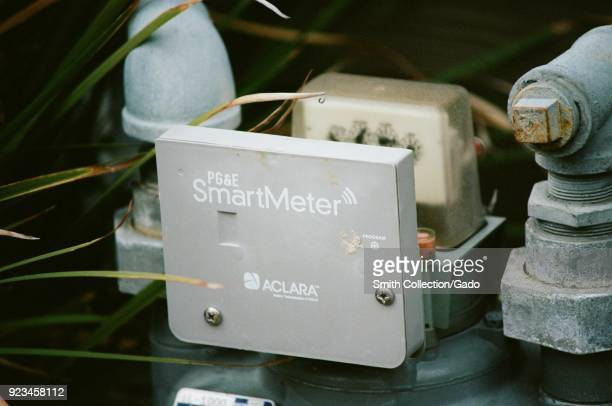 Closeup of a Pacific Gas and Electric smart natural gas meter part of a smart grid technology program from the California based public utility Dublin...