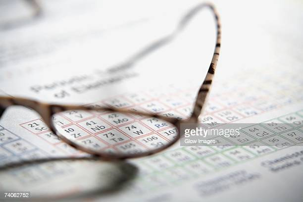 close-up of a pair of eyeglass on a periodic table - periodic table stock photos and pictures