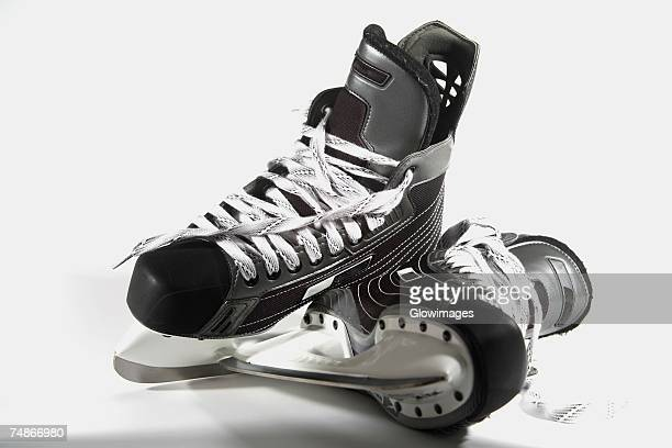 close-up of a pair of ice skates - ice skate stock pictures, royalty-free photos & images