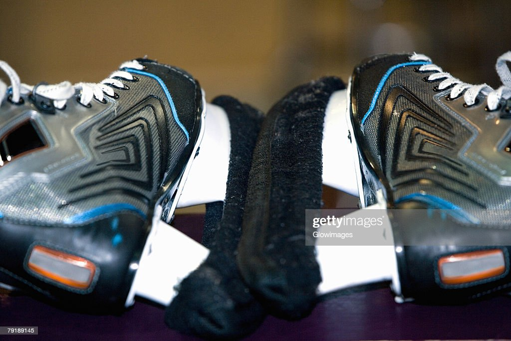 Close-up of a pair of ice-skates : Stock Photo