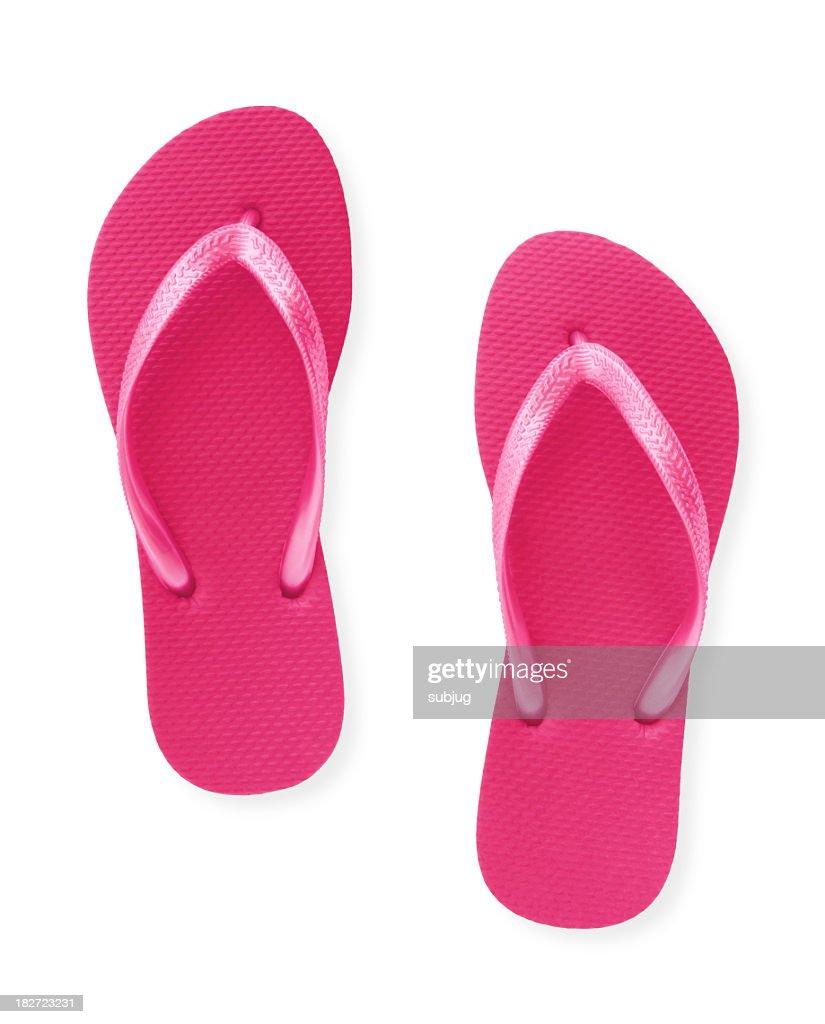 3d1c02a47c2d Closeup Of A Pair Of Pink Flip Flops Isolated On White Stock Photo ...