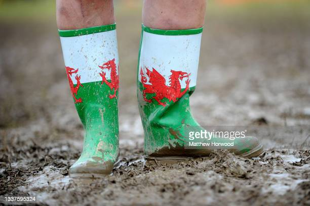 Close-up of a pair of Wales wellington boots stood in mud on March 3, 2019 in Cardiff, Wales.