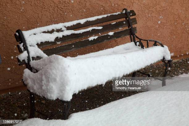 close-up of a park bench against a stucco wall in a snowstorm - timothy hearsum stock pictures, royalty-free photos & images