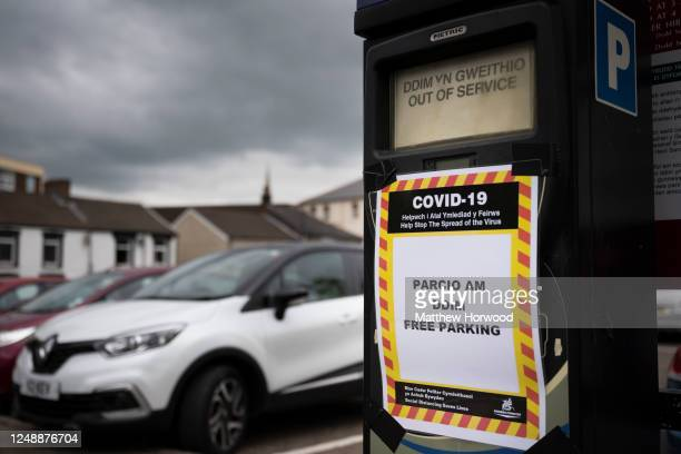 Close-up of a parking machine with a free parking sign during the coronavirus lockdown on June 10, 2020 in Aberdare, United Kingdom. Councils have...