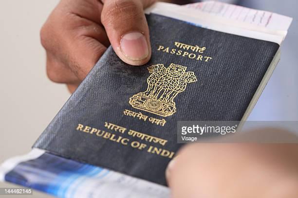 Close-up of a passport