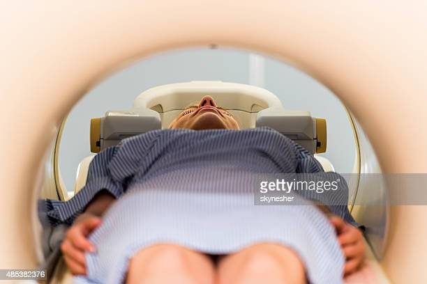 Close-up of a patient receiving an MRI scan.