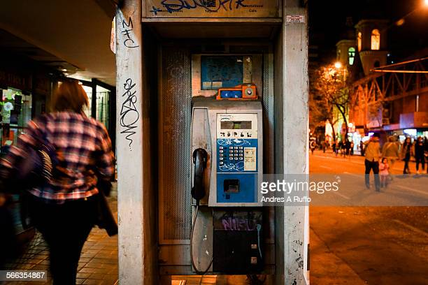 Closeup of a pay phone on the street General Paz the city of Cordoba Argentina on Wednesday night June 3 2015