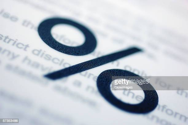 Close-up of a percentage sign on a document