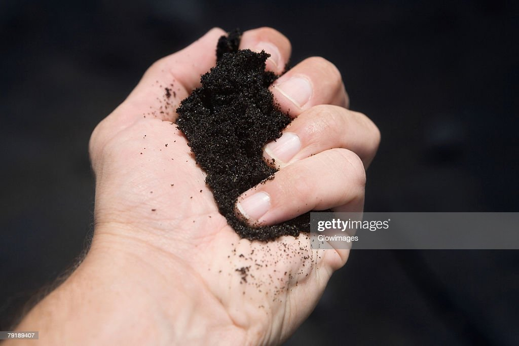 Close-up of a person's hand holding soil : Stock Photo