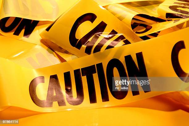 Closeup of a pile of caution tape