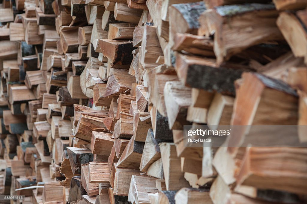Close-up of a pile of neatly stacked wood in Slovenia : Stock Photo