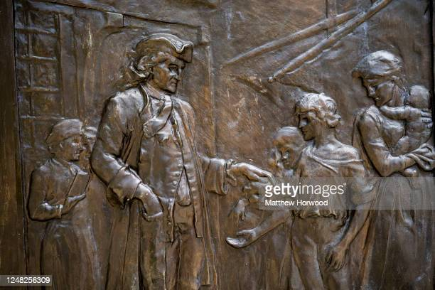 A closeup of a plaque on the side of the Edward Colston statue plinth on June 8 2020 in Bristol England Yesterday protesters in Bristol toppled the...