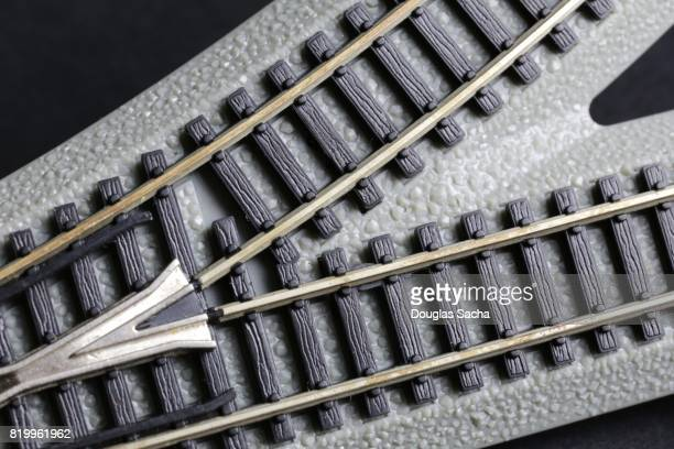 Close-up of a plastic toy train track