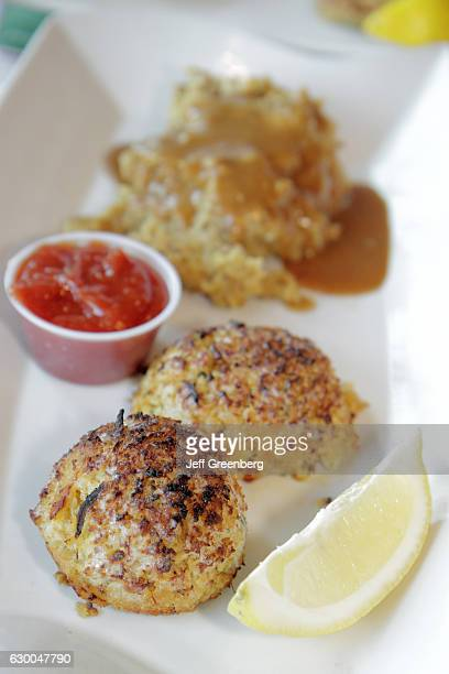 A closeup of a plate of crab cakes at Hamilton Family Restaurant