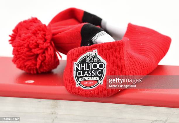 Closeup of a player tuque during the 2017 Scotiabank NHL100 Classic Ottawa Senators practice on Parliament Hill on December 15 2017 in Ottawa Canada
