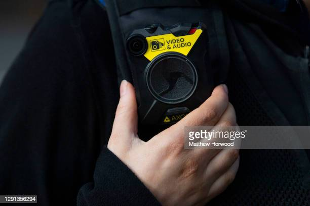 Close-up of a police body-worn CCTV camera on November 02, 2020 in Cardiff, Wales.