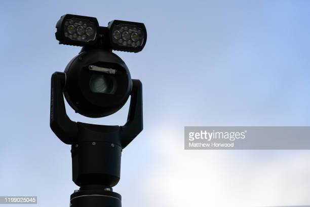 A closeup of a police facial recognition camera in use at the Cardiff City Stadium for the Cardiff City v Swansea City Championship match on January...