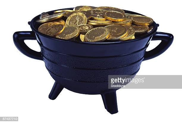 close-up of a pot of gold coins