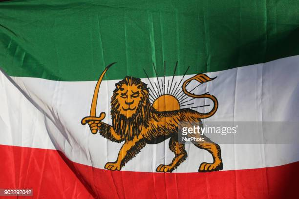 Closeup of a prerevolution Iranian flag as hundreds of Canadians take part in a protest against the Islamic Republic of Iran in Toronto Ontario...