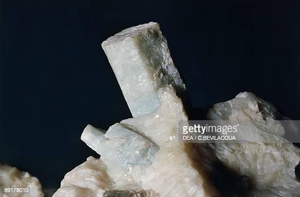 Closeup of a prismatic beryl crystal