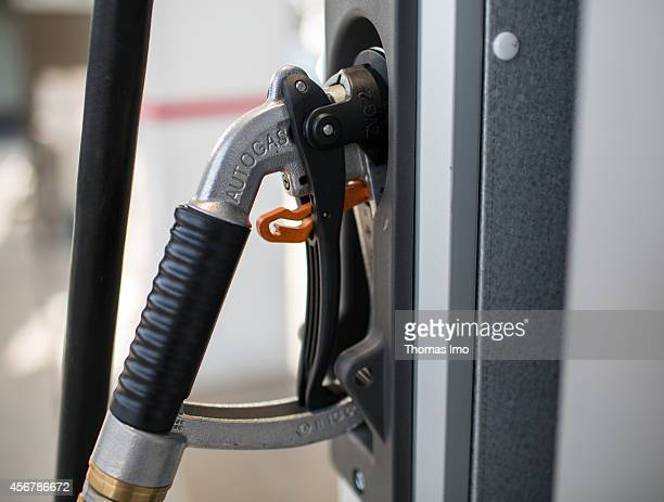 Closeup of a pump nozzle for Liquefied Petroleum Gas LPG at a multienergy filling station of the oil company Total on September 29 in Berlin Germany...