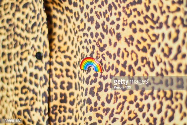 close-up of a rainbow badge on a leopard print shirt - brooch stock pictures, royalty-free photos & images