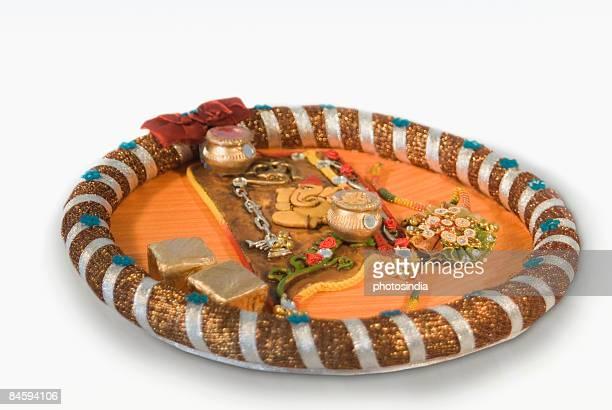 close-up of a rakhi thali - raksha bandhan stock photos and pictures