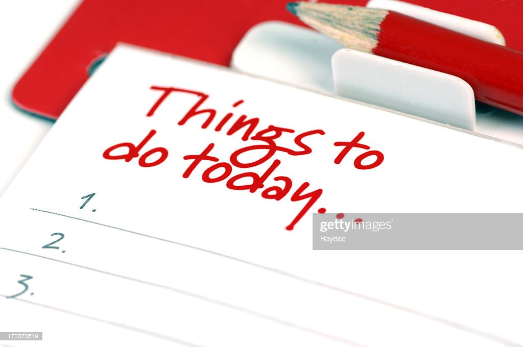 Close-up of a red and white to do list : Stock Photo