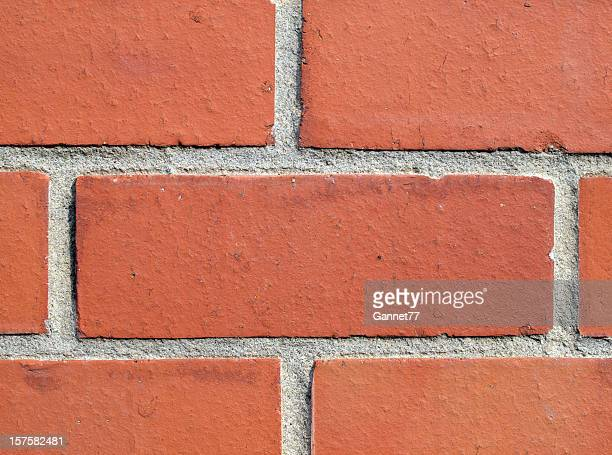 Close-up of a red brick wall with emphasis on one brick