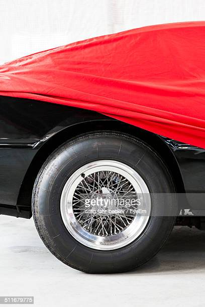 Close-up of a red car wheel