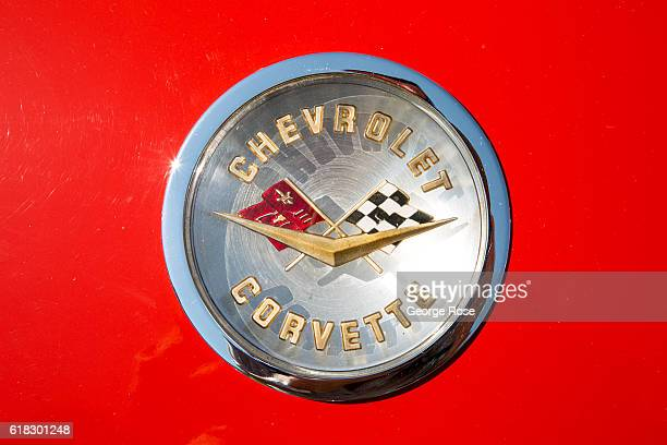 A closeup of a red Chevrolet Corvette logo is viewed at the 'Wheels 'n Windmills' car show on August 29 in Solvang California Following the Academy...