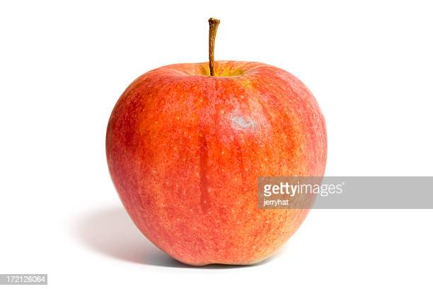 Close-up of a red fortune apple isolated on white